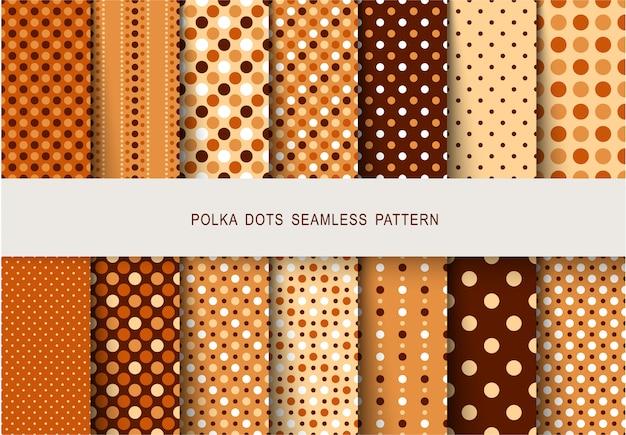 Naadloze patronen herfst polka dots set