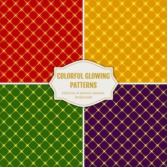 Naadloze patronen in rode, gele, groene en paarse kleuren. gloeiende collectie voor vakantieontwerp.
