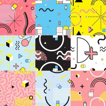 Naadloze patronen instellen memphis stijl