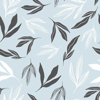 Naadloze patronen. kleurrijke bladeren op lichtblauwe achtergrond. vectorillustratie
