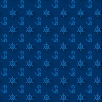 Naadloze patronen met blauwe ankers
