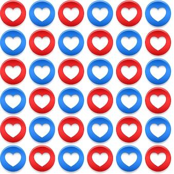 Naadloze patronen met cirkels en harten