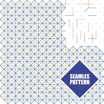 Naadloze patronen met stippen, vierkanten en lijnen, vectorillustratie