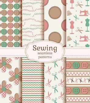Naadloze patronen naaien en handwerken. vector set.
