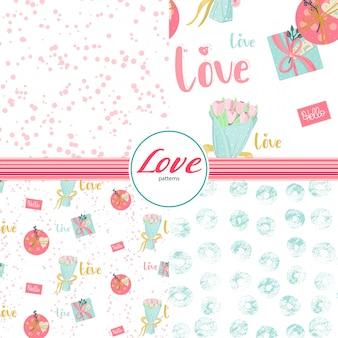 Naadloze patronen set met liefdeselementen in pastel kleuren.
