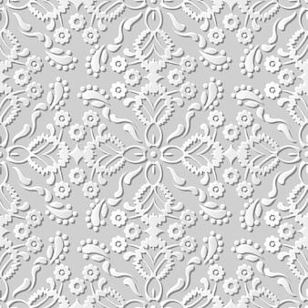Naadloze patroon 3d witboek gesneden kunst achtergrond cross bloem caleidoscoop