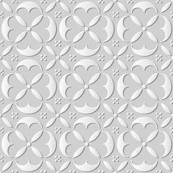 Naadloze patroon 3d-witboek gesneden kunst achtergrond elegante ronde kromme dwarsgeometrie