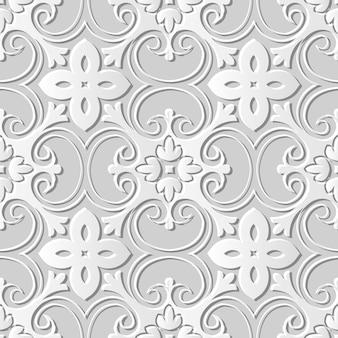 Naadloze patroon 3d witboek gesneden kunst achtergrond exotische kromme spiraal kruis bloem