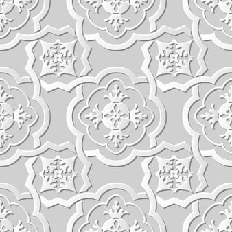 Naadloze patroon 3d witboek gesneden kunst achtergrond kromme kruis frame bloem caleidoscoop