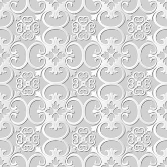 Naadloze patroon 3d witboek gesneden kunst achtergrond kromme spiraal kruis bloem