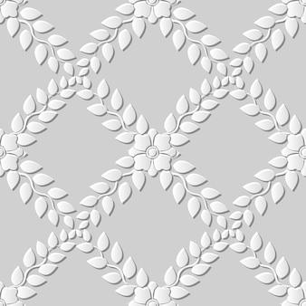 Naadloze patroon 3d witboek gesneden kunst achtergrond kruis blad bloem wijnstok
