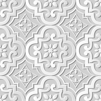 Naadloze patroon 3d witboek gesneden kunst achtergrond ronde kromme bloem caleidoscoop