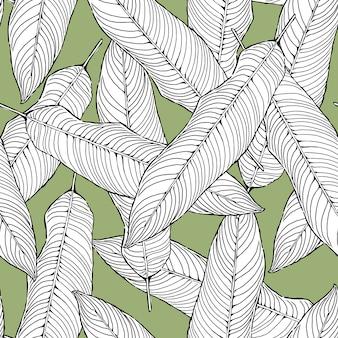 Naadloze patroon abstracte zwart-witte bladeren op groen, gebladertevector