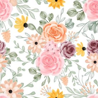 Naadloze patroon achtergrond bloem en bladeren