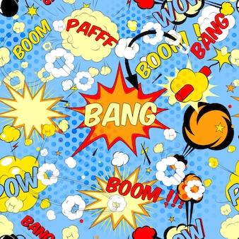 Naadloze patroon achtergrond met stripboek spraak bubbels vectorillustratie