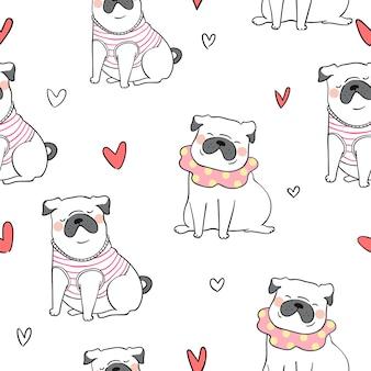 Naadloze patroon achtergrond schattige pug hond doodle stijl