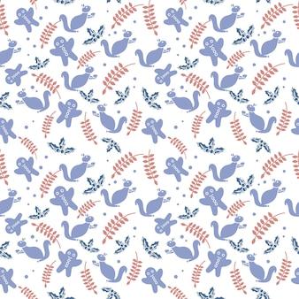 Naadloze patroon achtergrond versierd met eekhoorn, peperkoek, holly bessen en bladeren.