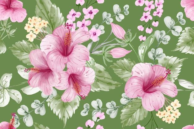 Naadloze patroon achtergrond zomer banner met hibiscus bloem