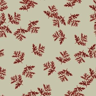 Naadloze patroon alsem op olijf achtergrond. mooie plantenornament rode kleur. willekeurige textuursjabloon voor stof.