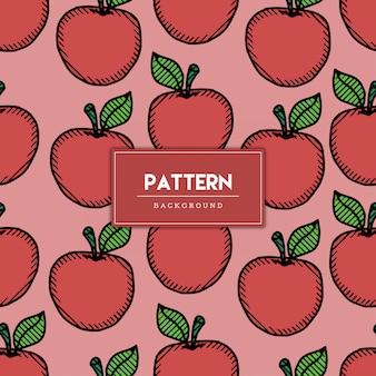 Naadloze patroon appel fruit hand getekende illustratie