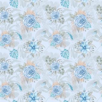 Naadloze patroon aquarel illustratie van een boho boeket van blauwe roos
