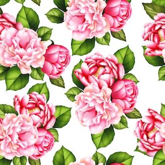 Naadloze patroon aquarel pioenroos bloem