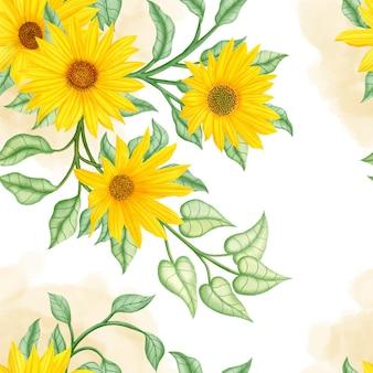 Naadloze patroon aquarel zomer zonnebloem