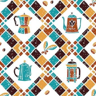 Naadloze patroon argyle en koffie kannen