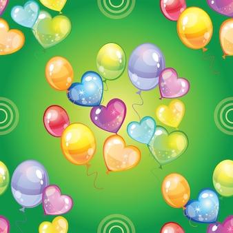 Naadloze patroon ballonnen op groene achtergrond