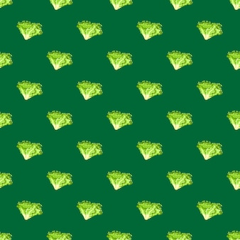 Naadloze patroon batavia salade op groenblauw achtergrond. minimalistisch ornament met sla. geometrische plant sjabloon voor stof. ontwerp vectorillustratie.