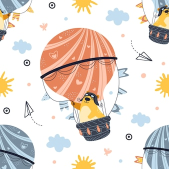 Naadloze patroon beer vliegen op hete luchtballon. schattige cartoon teddy.