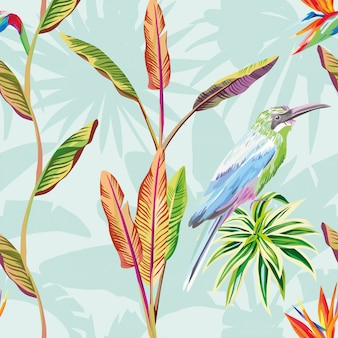 Naadloze patroon behang samenstelling van tropische bladeren bloemen en vogel groene munt