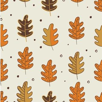 Naadloze patroon bladeren herfst Premium Vector