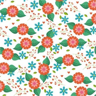Naadloze patroon blauwe en oranje bloemen