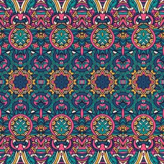 Naadloze patroon bloem kleurrijke etnische tribal