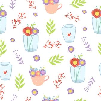 Naadloze patroon bloemen in een vaas