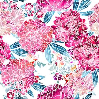 Naadloze patroon, bloemen met alcohol inkt textuur