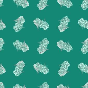 Naadloze patroon bos mangold salade op turkooizen achtergrond. abstract ornament met sla. geometrische plant sjabloon voor stof. ontwerp vectorillustratie.