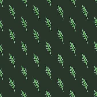 Naadloze patroon bos rucola salade op donkere groenblauw achtergrond. minimalistisch ornament met sla.