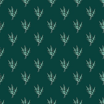 Naadloze patroon bos rucola salade op groenblauw achtergrond. abstract ornament met sla.