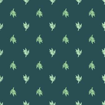 Naadloze patroon bos rucola salade op groenblauw achtergrond. minimalistisch ornament met sla.