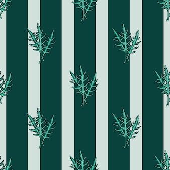 Naadloze patroon bos rucola salade op groenblauw srtipes achtergrond. modern ornament met sla. geometrische plant sjabloon voor stof. ontwerp vectorillustratie.