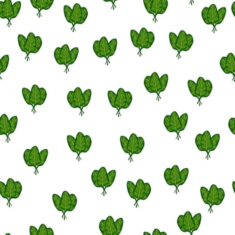 Naadloze patroon bos spinazie salade op witte achtergrond. eenvoudig ornament met sla.