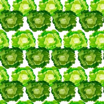 Naadloze patroon butterhead salade op witte achtergrond. eenvoudig ornament met sla.