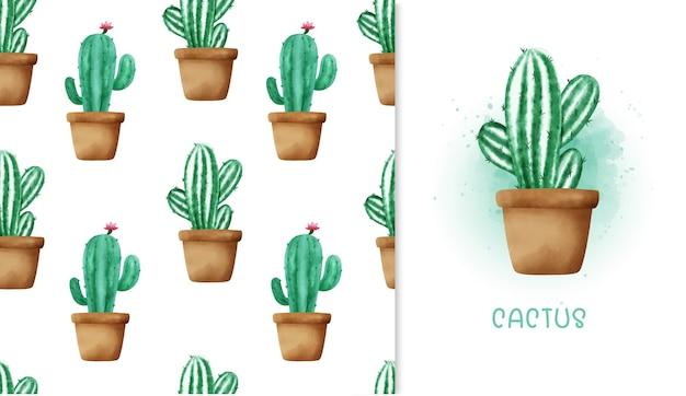 Naadloze patroon cactus en wenskaart.