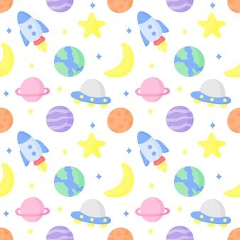 Naadloze patroon cartoon ruimte en planeten