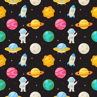 Naadloze patroon cartoon ruimte. planeten geïsoleerd