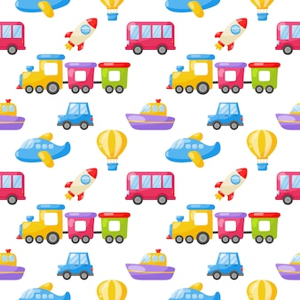 Naadloze patroon cartoon transport speelgoed. auto's, boot, helikopter, raket, ballon en vliegtuig. kawaii stijl geïsoleerd op een witte achtergrond.