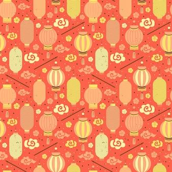 Naadloze patroon chinese papieren lantaarns.