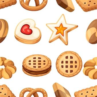 Naadloze patroon. cookie en biscuit icoon collectie. kleurrijke platte cookies set. cirkel, ster, sandwich, andere vorm. illustratie geïsoleerd op een witte achtergrond.